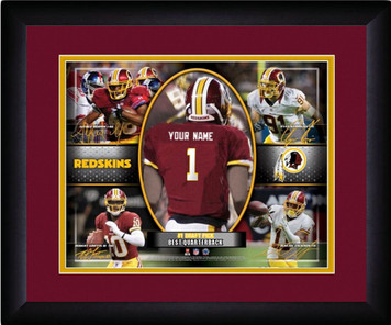 NFL Personalized Red Action Collage Print Black Frame Customized Washington Reds