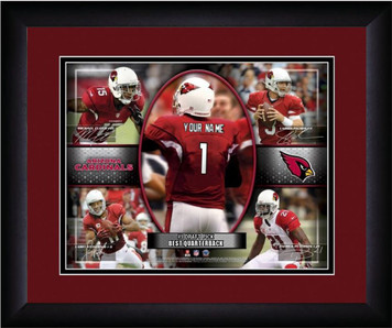 NFL Personalized Red Action Collage Print Black Frame Custom Arizona Cardinals