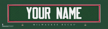 NBA Milwaukee Bucks Official Personalized League Jersey Stitch Print Black Frame