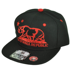 Cali California Republic Bear Flat Bill Hat Cap Snapback Youth Kids Black Red