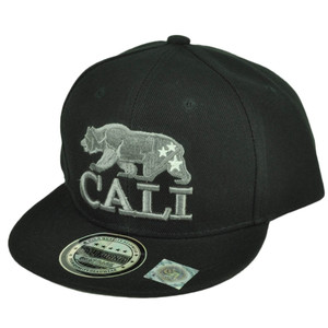 Cali California Republic Bear Flat Bill Hat Cap Snapback Youth Kids Black Gray