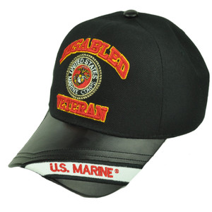 Disabled Veteran United States Marine Corps Black Pleather Visor Hat Cap Military