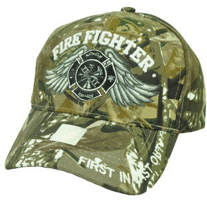 Fire Fighter First In Last Out Camouflage Camo Department Rescue Hat Cap Fireman