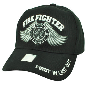 Fire Fighter First In Last Out Department Rescue Hat Black Cap Fireman Dept