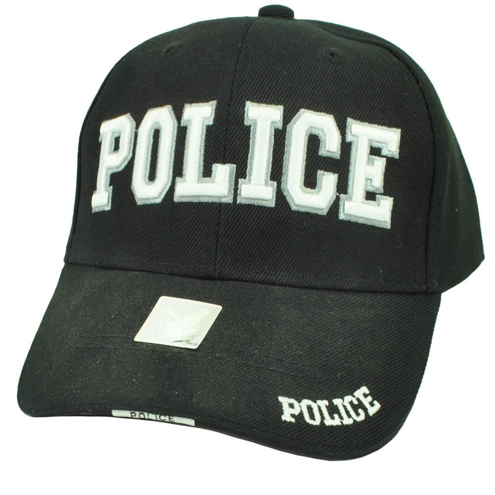 Police Cops Law Enforcement Officer Patrol Black Hat Cap Adjustable ... d8ec1bf60b50