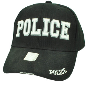 Police Cops Law Enforcement Officer Patrol Black Hat Cap Adjustable Curved Bill