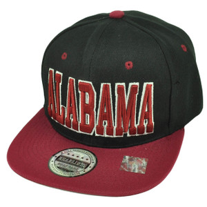 Alabama Bama State Black Burgundy Snapback Flat Bill Hat Cap Heart of Dixie USA