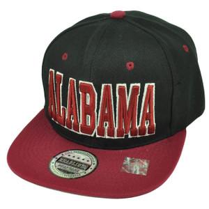 Alabama Bama State Black Burgundy Snapback Flat Bill Hat Cap Heart of Dixie USA