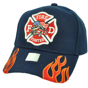 Fire Fighter Department Flames Rescue Dept Adjustable Navy Blue Hat Cap Fireman