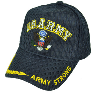 U.S Army Strong Military Breathable Navy Blue Hat Cap Adjustable Defending Troop