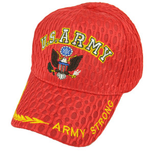 U.S Army Strong Military Breathable Red Hat Cap Adjustable Defending Troops