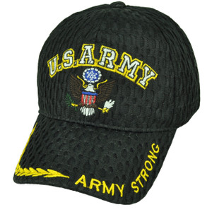 U.S Army Strong Military Breathable Black Hat Cap Adjustable Defending Troops