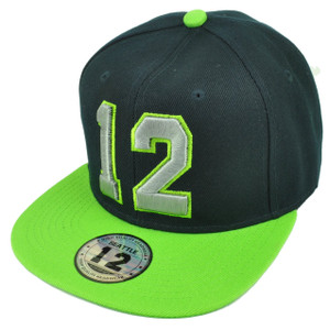 12 Player Flat Bill Snapback Hat Cap Seattle Fan Game Spirit Navy Blue Green