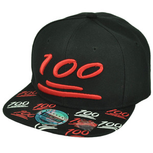 100 One Hundred Emoji Emoticons Text Symbol Flat Bill Hat Cap Snapback Black Red