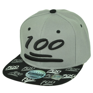 100 One Hundred Emoji Emoticons Symbol Flat Bill Hat Cap Snapback Gray Text
