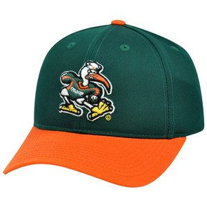 NCAA Miami Hurricanes Canes Mascot Logo Adult Small Adjustable Velcro Hat Cap