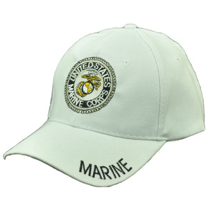U.S United States Marine Corps Marines Military Adjustable Hat Cap USMC White