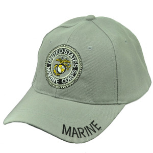 U.S United States Marine Corps Marines Military Adjustable Hat Cap Light Gray