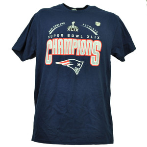 New England Patriots Super Bowl XLIX Champions Navy Blue Mens Tshirt Tee Football