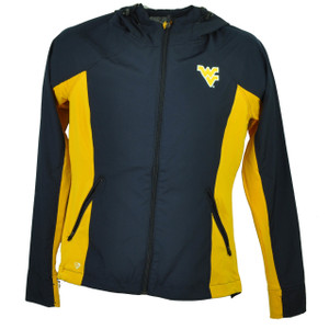 Colosseum West Virginia Mountaineers Windbreaker Jacket Womens Navy Blue Hoodie