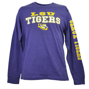 NCAA Colosseum Louisiana State Geaux Tigers LSU Mens Long Sleeve Tshirt Purple