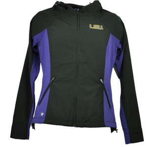 NCAA Colosseum Louisiana State Tigers LSU Womens Windbreaker Jacket Black Hoodie