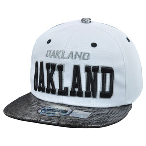 Oakland City Dark Animal Snake Skin Faux White Black Snapback Flat Bill Hat Cap