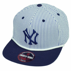 American Needle New York Yankees Striped Hat Cap Sun Buckle Flat Bill White Blue