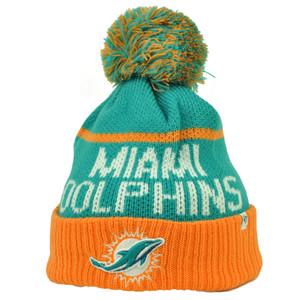 Miami Dolphins '47 Brand Forty Seven Cuffed Pom Pom Knit Beanie Linesman Football
