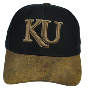 NCAA Fonz Kansas Jayhawks Adjustable Hat Faux Suede Velcro Curved Bill Licensed