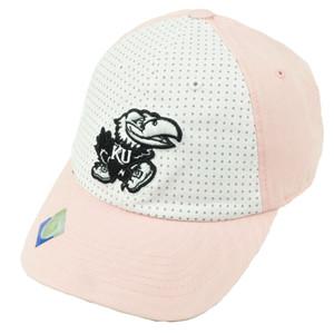 NCAA Kansas Jayhawks 2 Tone Polka Dots Womens Hat Cap Pink White Relaxed Slouch