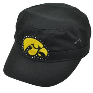 NCAA Iowa Hawkeyes Black Cadet Style Fatigue Hat Cap Womens Ladies Rhinestone