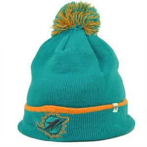 Miami Dolphins '47 Brand Forty Seven Cuffed Pom Pom Knit Beanie Baraka Turquoise