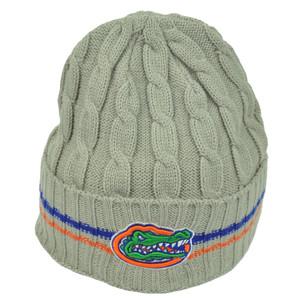 NCAA Florida Gators Gray Crochet Knit Beanie Cuffed Hat Winter Toque UF Striped
