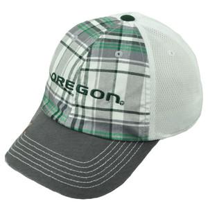 Oregon Ducks Plaid Mesh Trucker Hat Cap Adjustable UO Curved Bill Headgear Mens