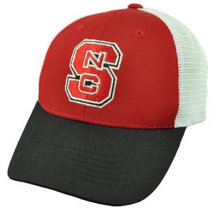 NCAA North Carolina State Wolfpack Red White Mesh Snapback Hat Cap Trucker NC