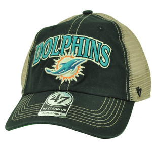 Miami Dolphins '47 Brand Forty Seven Tuscaloosa Mesh Snapback Hat Cap Black