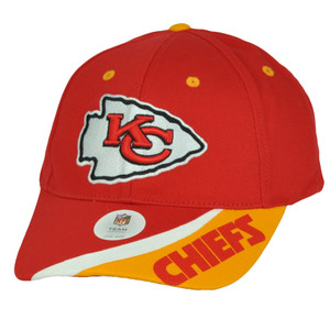 Kansas City Chiefs Red Yellow Stripe Hat Cap Curved Bill Adjustable Football