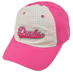NCAA Oregon Ducks Polka Dots Womens Ladies Hat Cap Pink White Adjustable Relaxed