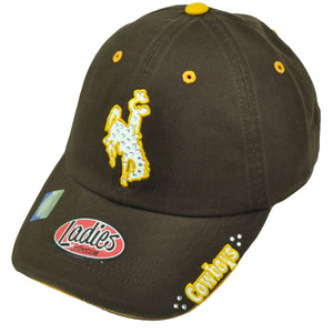 NCAA Wyoming Cowboys Ladies Womens Hat Cap Brown Rhinestone Relaxed Slouch