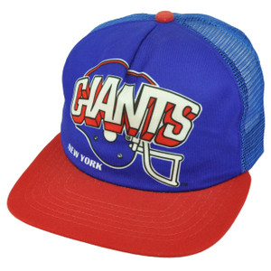 New York Giants Helmet Mesh Trucker Hat Cap Flat Bill Blue Red Football Relaxed