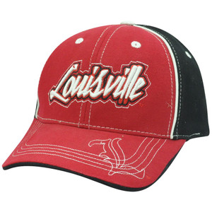 NCAA Louisville Cardinals Cards Red Black Curved Bill Adjustable Velcro Hat Cap