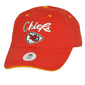Kansas City Chiefs Foil Logo Womens Red Curved Bill Hat Cap Relaxed Adjustable