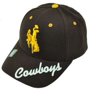 NCAA Wyoming Cowboys Brown Hat Cap Mens Adjustable 3D Script Curved Bill Sport