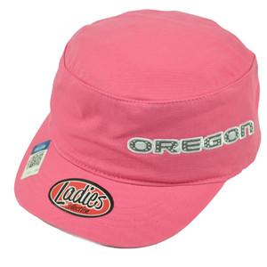 NCAA Oregon Ducks Ladies Cut Women Cadet Style Hat Cap Rhinestone Pink Fatigue