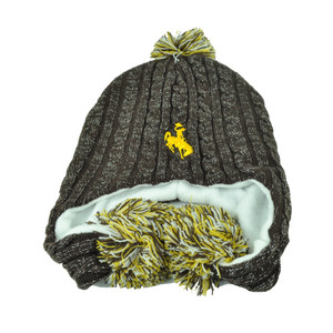 NCAA Wyoming Cowboys Pom Pom Shiny Crochet Ear Flap Knot Beanie Womens Ladies
