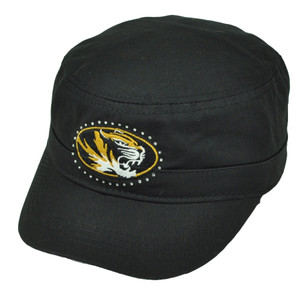 NCAA Missouri Tigers Mizzou Cadet Fatigue Rhinestone Black Hat Cap Womens Ladies