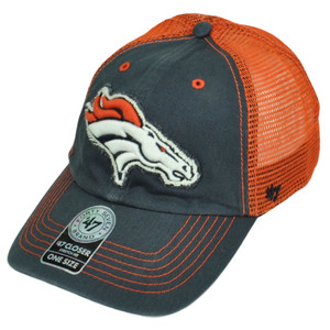 '47 Brand Denver Broncos Distressed Mesh Flex Fit One Size Hat Cap Blue Orange