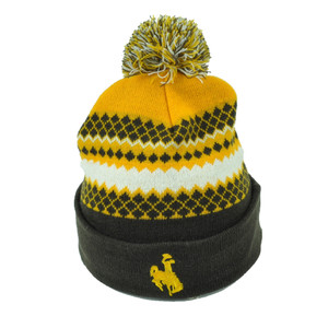 NCAA Wyoming Cowboys Pom Pom Cuffed Knit Beanie Brown Yellow Nordic Print 2 Tone