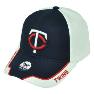 Minnesota Twins Two Tone White Navy Blue Mens Hat Cap Baseball Curved Bill